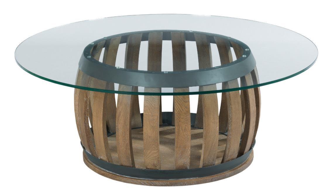 kincaid furniture stone ridge rustic wine barrel cocktail table