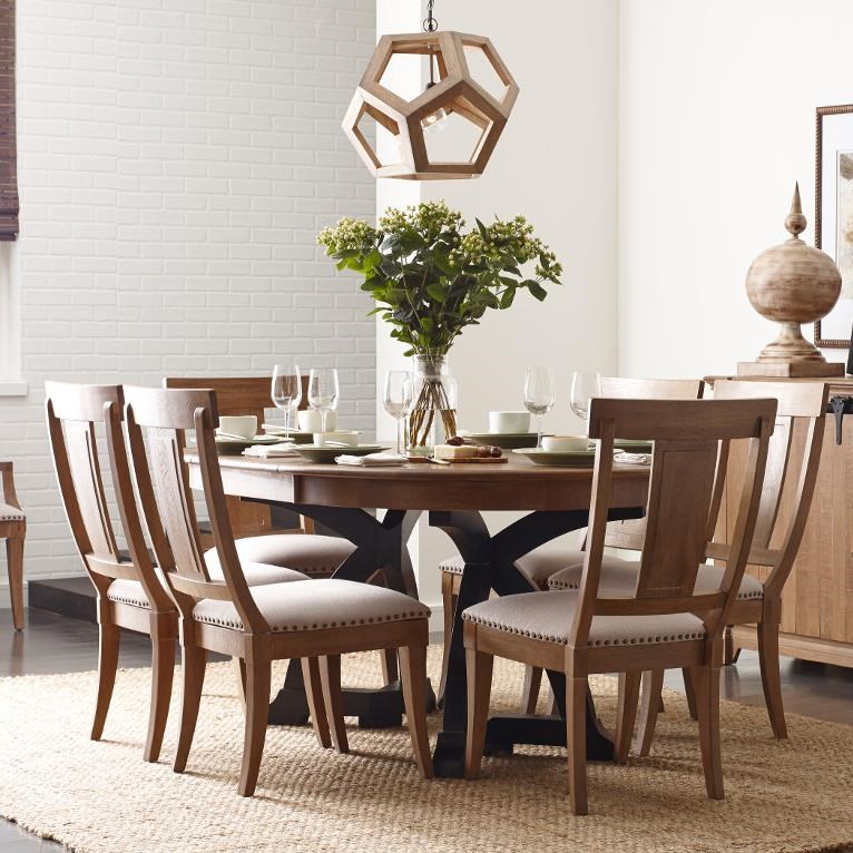 Kincaid Furniture Stone Ridge Seven Piece Dining Set With Round/Oval  Extendable Table