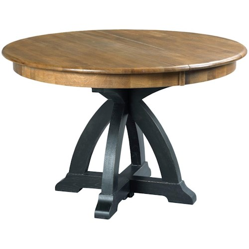 Kincaid Furniture Stone Ridge Transitional Rustic Round Dining Table With One Extension Leaf