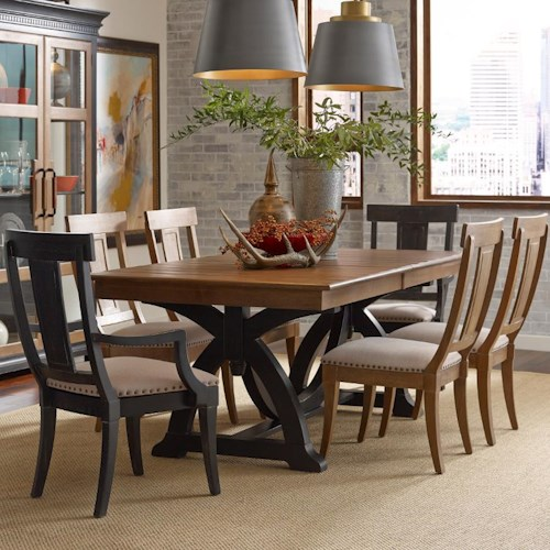 Kincaid Furniture Stone Ridge Seven Piece Dining Set with Rectangular Table and Contrasting Host Chairs
