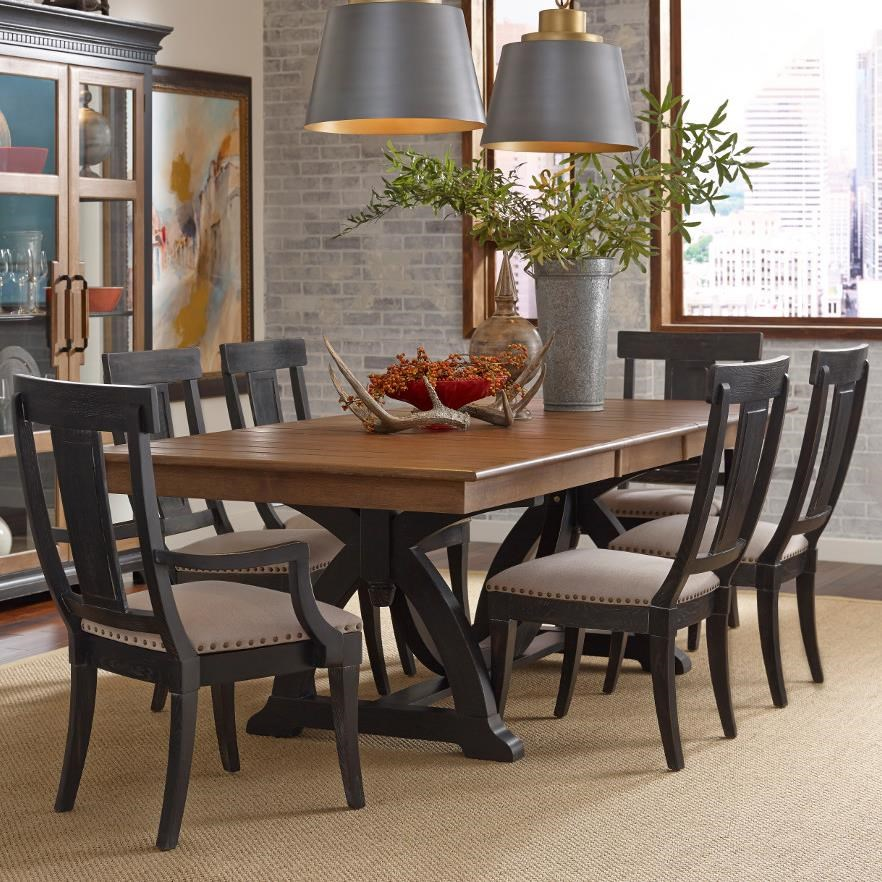 Attractive Kincaid Furniture Stone Ridge Seven Piece Dining Set With Rectangular Table  And Black Painted Chairs