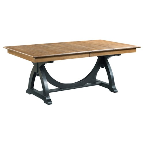 Kincaid Furniture Stone Ridge Transitional Rustic Trestle Table with Two Extension Leaves
