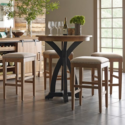 Kincaid Furniture Stone Ridge Transitional Five Piece Rustic Bistro Table and Bar Stool Set in Light Brown