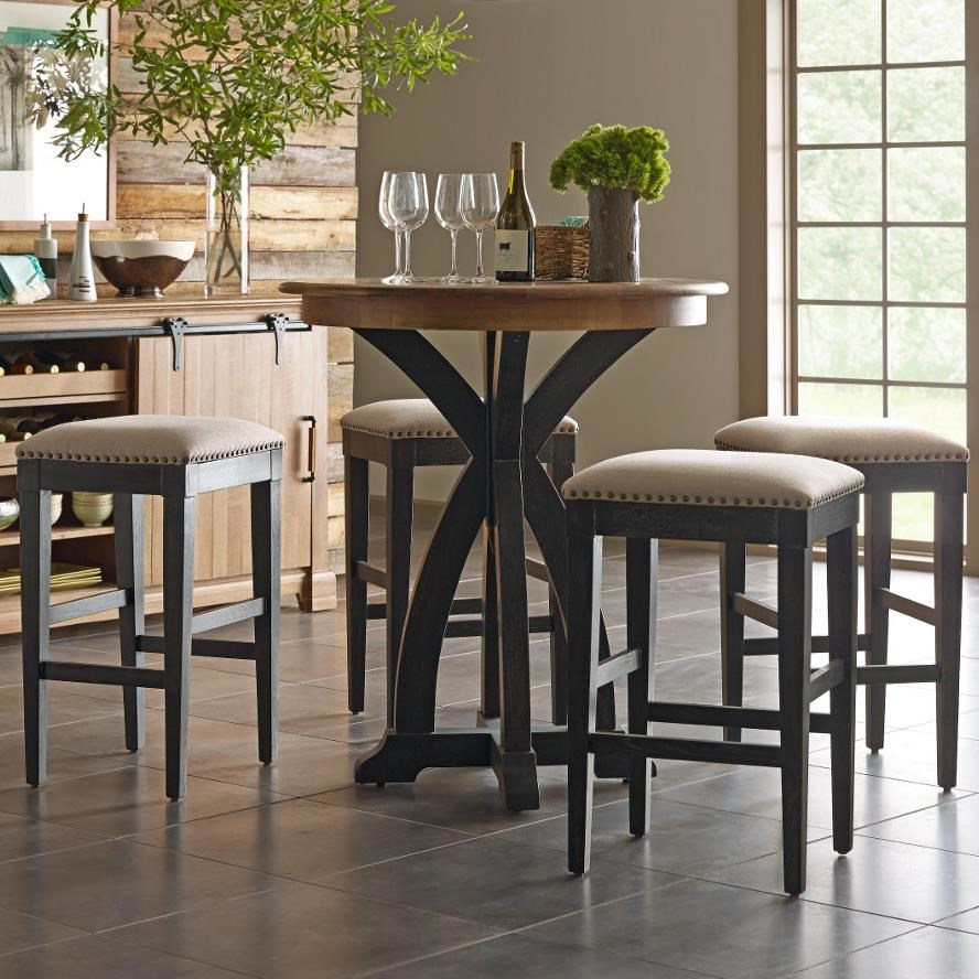 Kincaid Furniture Stone Ridge Transitional Five Piece Rustic Bistro Table  And Bar Stool Set In Black