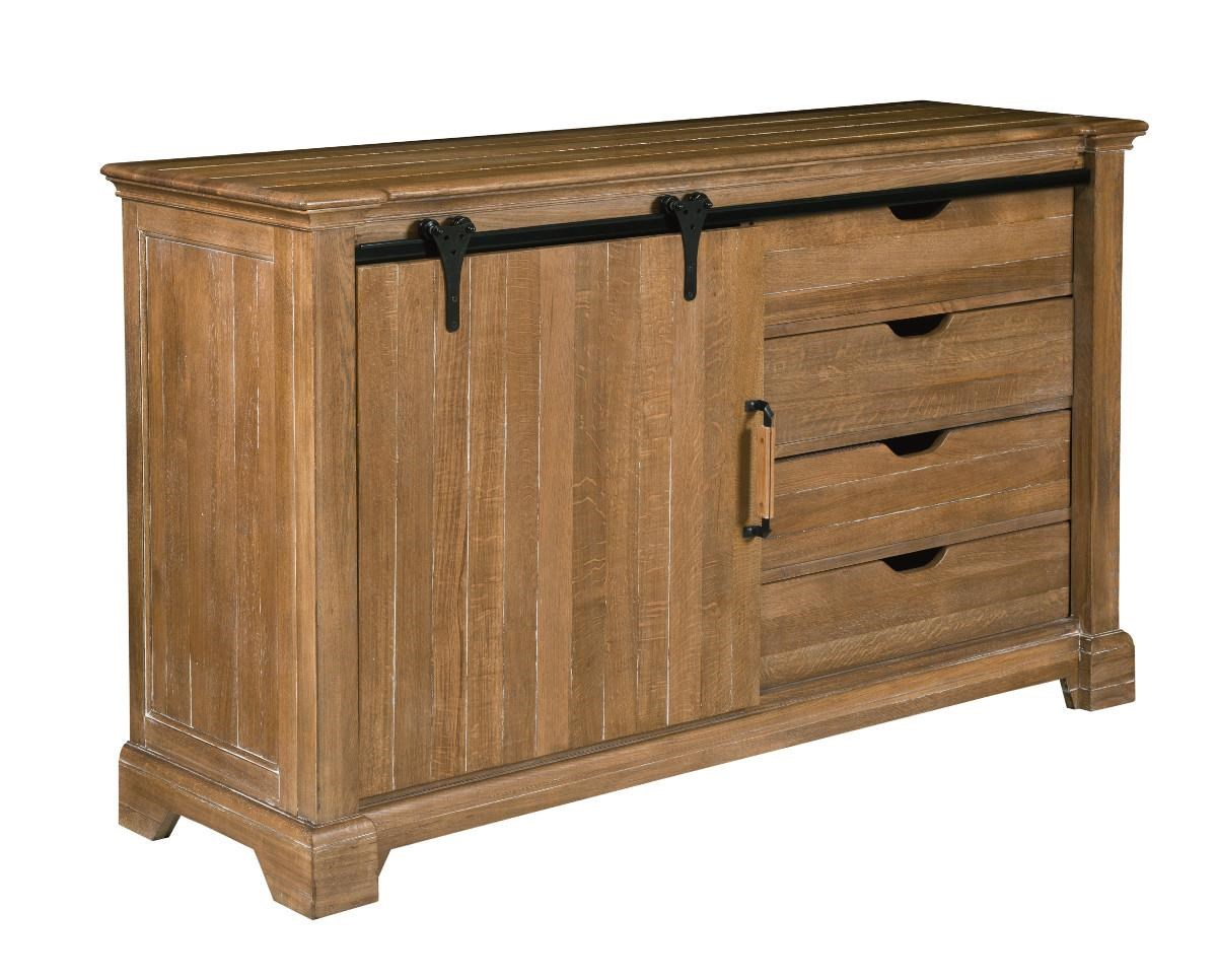 Kincaid Furniture Stone Ridge Transitional Rustic Sliding Barn Door Buffet  With Wine Storage   Becker Furniture World   Buffets