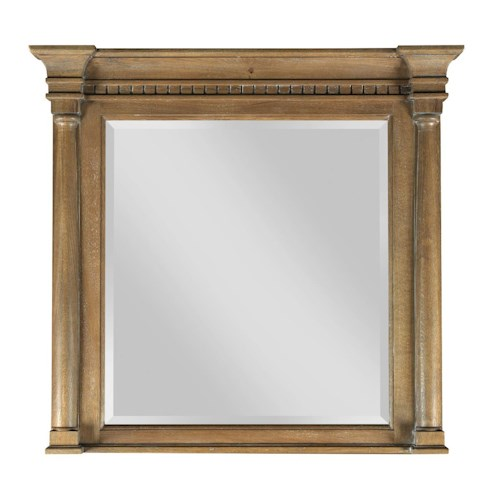 Kincaid Furniture Stone Ridge Transitional Dresser Mirror with Turned Posts and Dentil Moulding