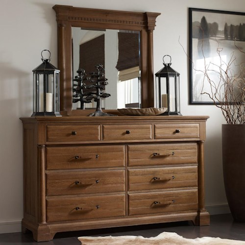 Kincaid Furniture Stone Ridge Transitional Solid Wood Drawer Dresser and Mirror Set