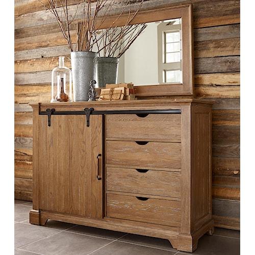 Kincaid Furniture Stone Ridge Transitional Rustic Sliding Barn Door Media Chest And Landscape Mirror Set