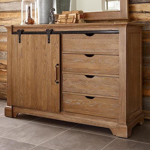 Kincaid Furniture Stone Ridge Transitional Rustic Sliding Barn Door Media Chest With Clothing Storage