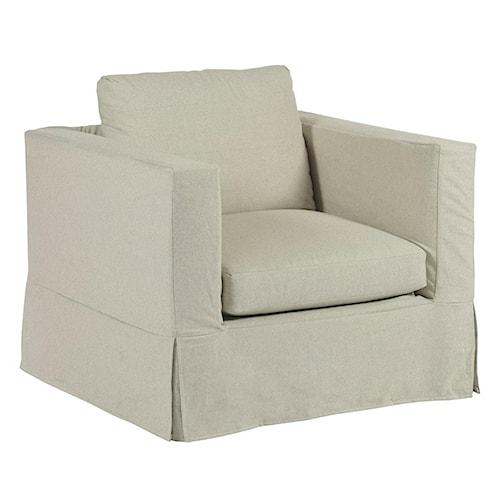 Kincaid Furniture Sydney Modern Slipcover Chair with Kick Pleat Skirt