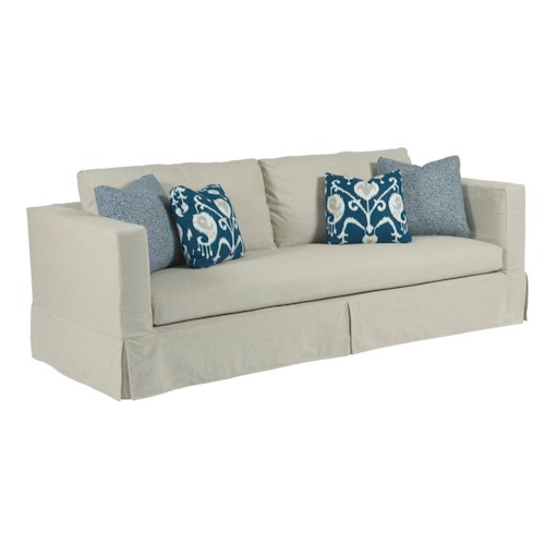Kincaid Furniture Sydney Modern Slipcover Sofa with Kick Pleat Skirt