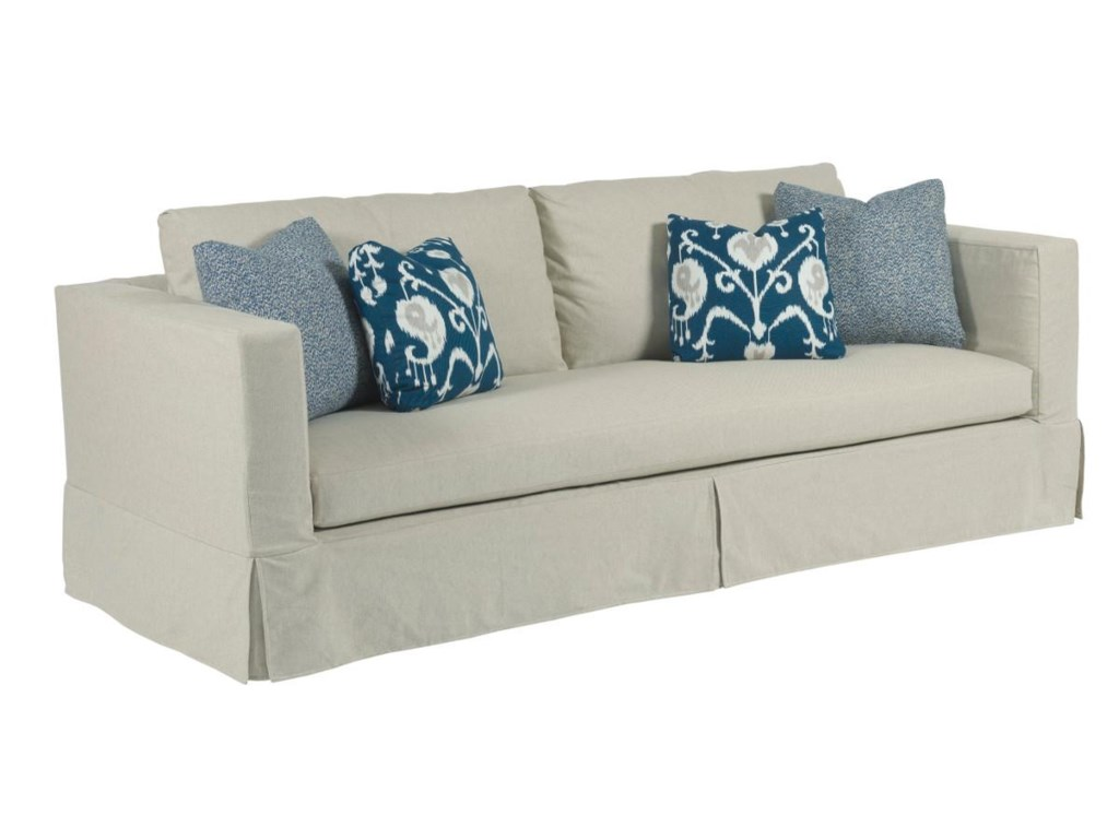 Sydney modern slipcover sofa with kick pleat skirt by kincaid furniture