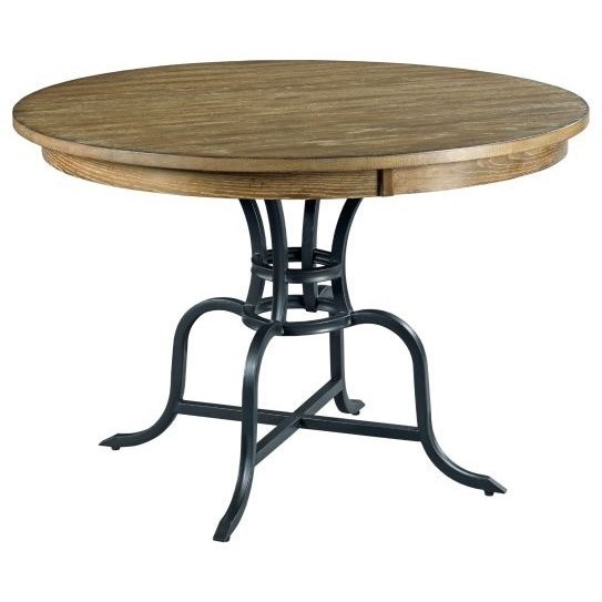 """54"""" Round Solid Wood Dining Table with Rustic Metal Base"""