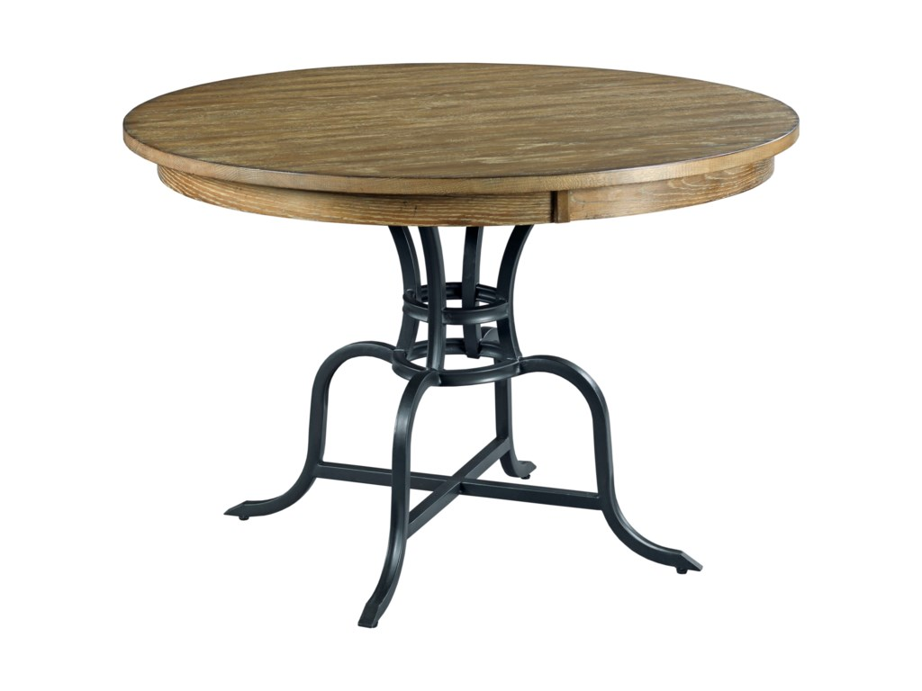 The Nook 44 Round Solid Wood Dining Table With Rustic Metal Base By Kincaid Furniture At Hudsons Furniture