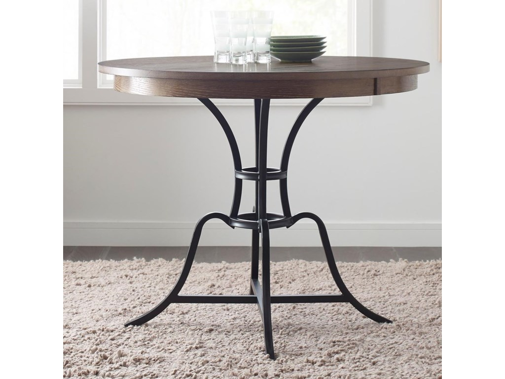 The Nook 44 Round Solid Wood Counter Height Table With Rustic Metal Base By Kincaid Furniture At Stoney Creek Furniture