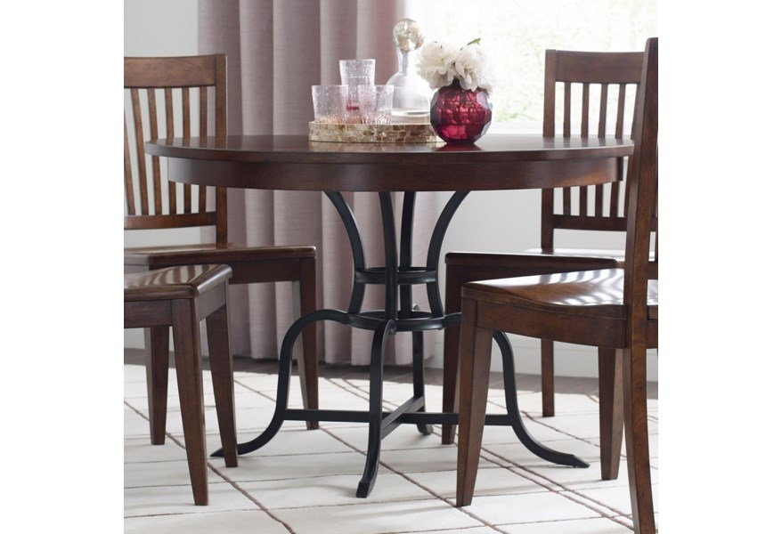 Kincaid Furniture The Nook 44 Round Solid Wood Dining Table With Rustic Metal Base Belfort Furniture Kitchen Tables