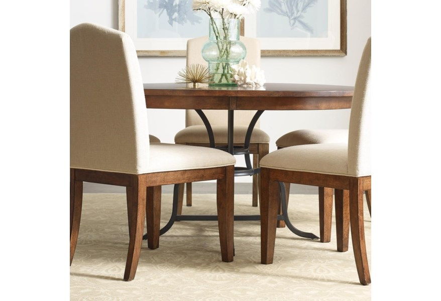 Kincaid Furniture The Nook 54 Round Solid Wood Dining Table With Rustic Metal Base Jacksonville Furniture Mart Kitchen Tables