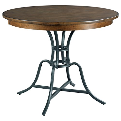 Kincaid Furniture The Nook 44 Round Solid Wood Counter Height Table With Rustic Metal Base