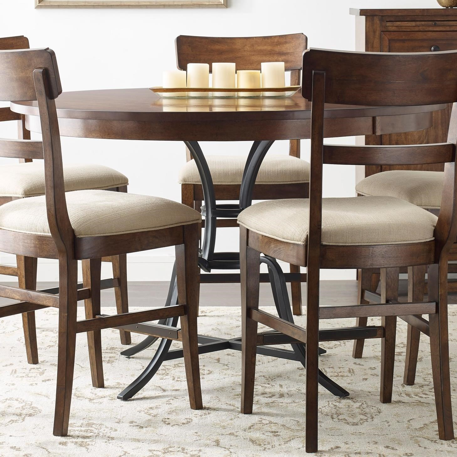 """54"""" Round Solid Wood Counter Height Table with Rustic Metal Base"""