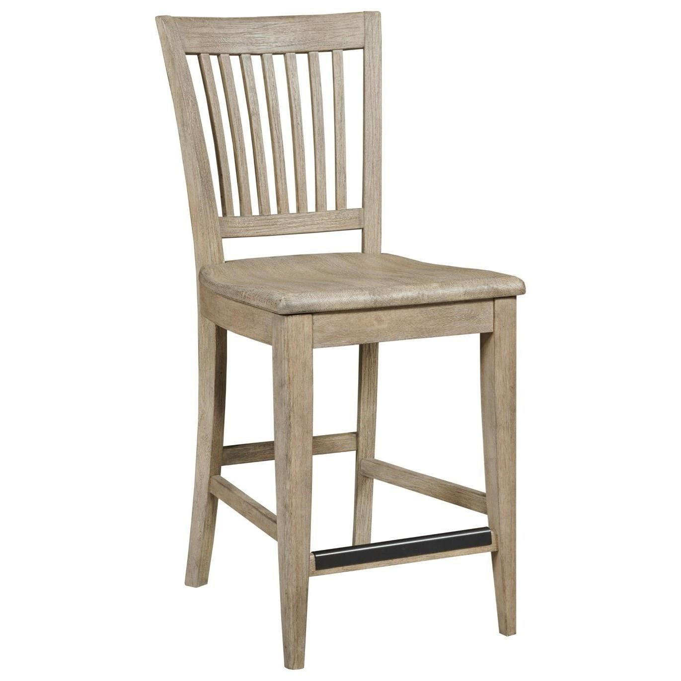 Solid Wood Counter Height Slat Back Chair