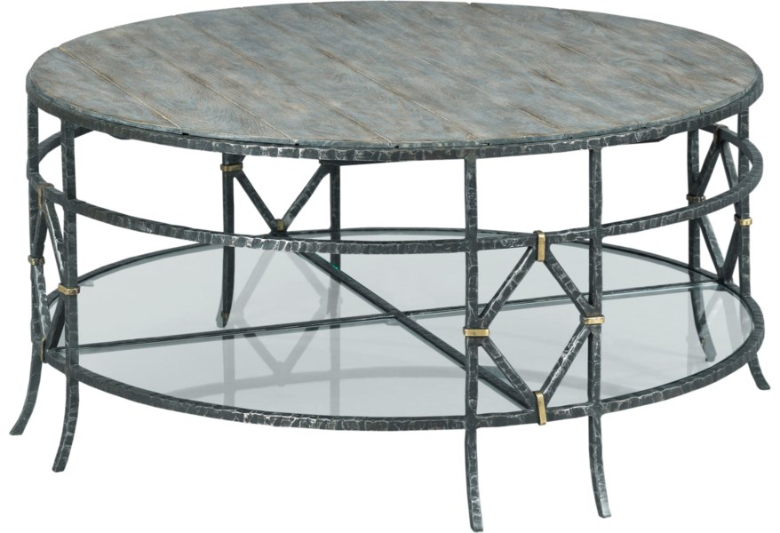 Kincaid Furniture Trails Monterey Round Coffee Table With Lower Glass Shelf Lindy S Furniture Company Cocktail Coffee Tables