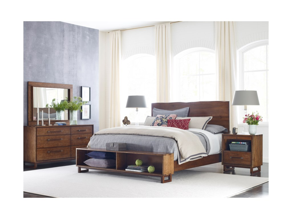 Kincaid Furniture TraverseCraftsman Queen Size Live Edge Bed w/ Storag
