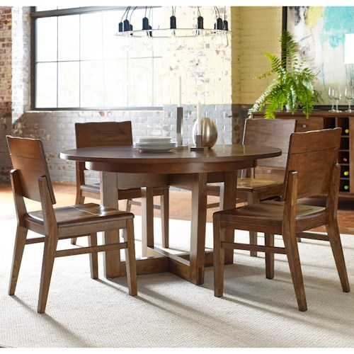 Kincaid Furniture Traverse Five Piece Dining Set With Blacksmith Table And Woodcrafters Chairs