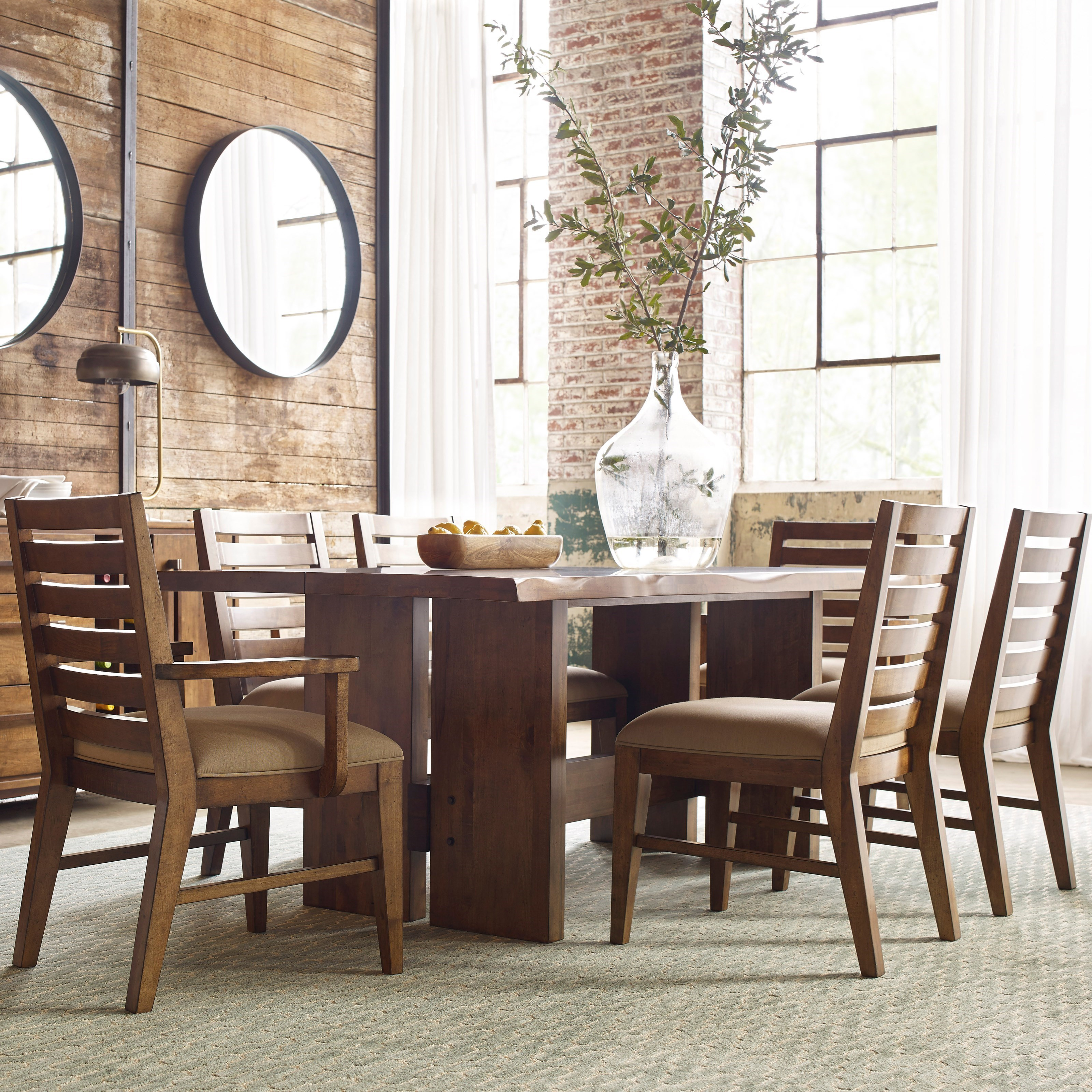 Kincaid Furniture Traverse Seven Piece Dining Set With Cutler Table And  Ladderback Chairs