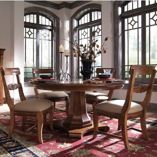 Kincaid Furniture Tuscano 5 Pc. Round Pedestal Table with 4 Upholstered Side Chair Set