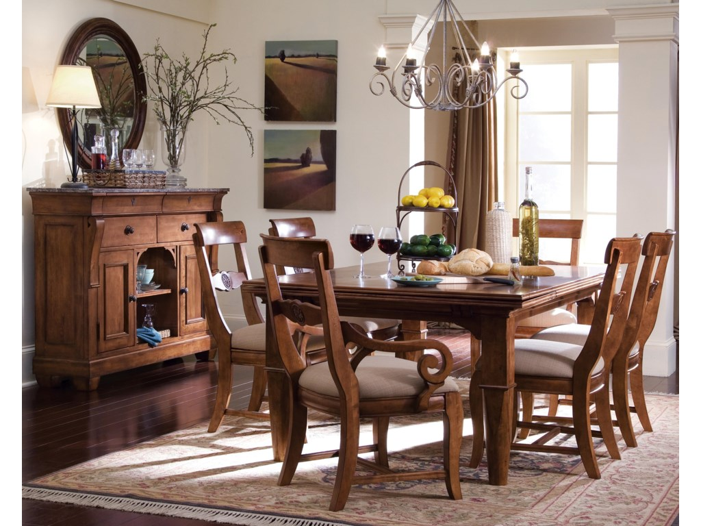 Shown with Sideboard, Round Mirror, Table, and Side Chairs