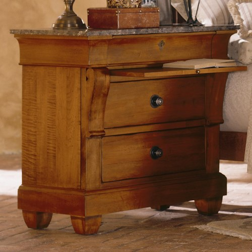 Kincaid Furniture Tuscano Bedside Chest With Marble Top Wayside - Kincaid tuscano bedroom furniture