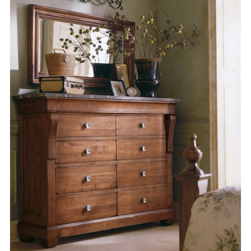 Kincaid Furniture Tuscano Marble Top Magna Chest & Landscape Mirror