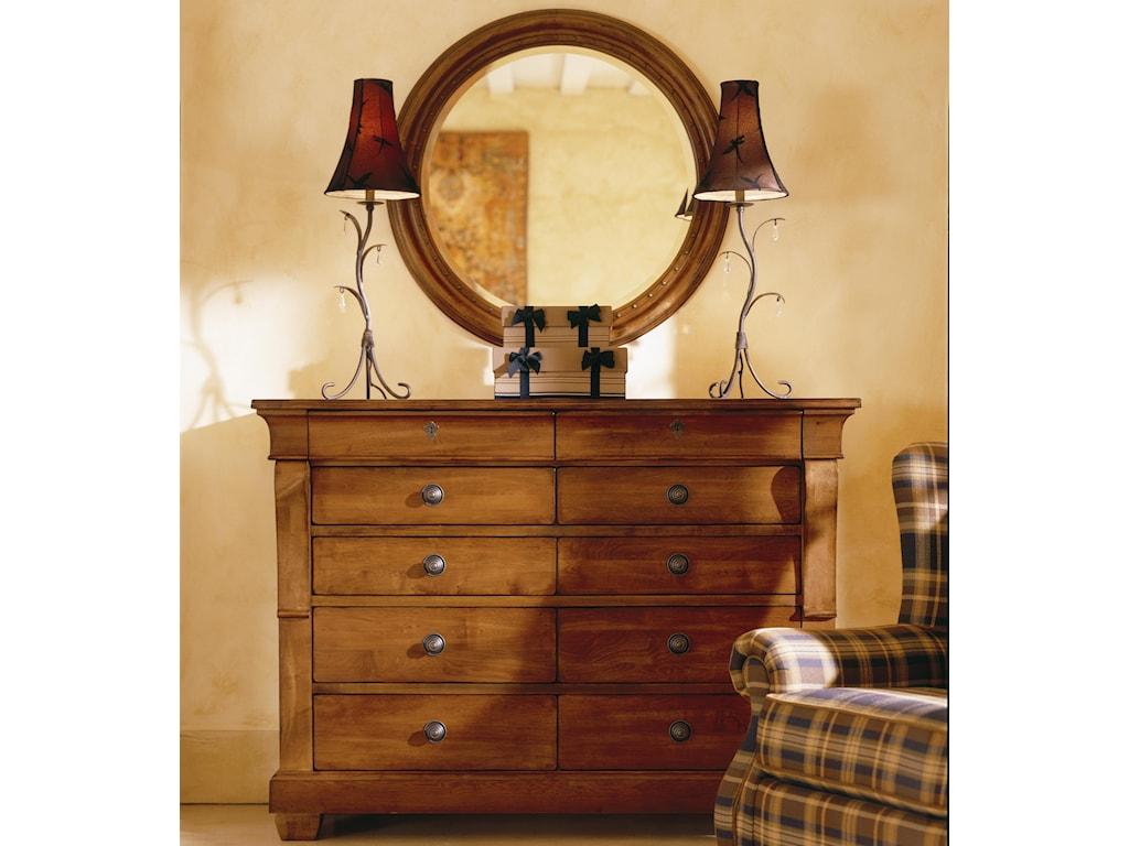 Kincaid Furniture Tuscano Drawer Dresser With Round Mirror Becker