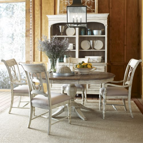 Kincaid Furniture Weatherford 5 Piece Dining Set with Pedestal