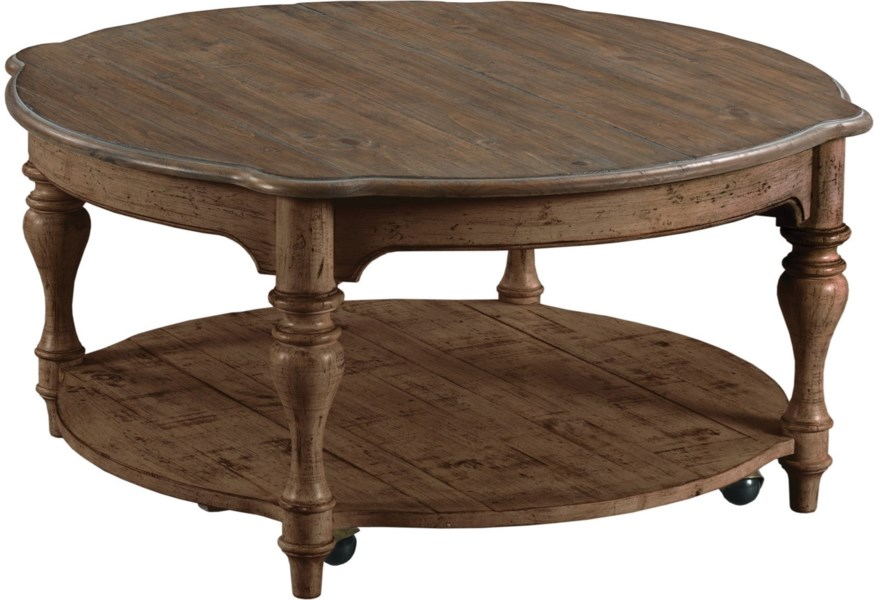 Kincaid Furniture Weatherford Bolton Round Cocktail Table With Hidden Casters Lindy S Furniture Company Cocktail Coffee Tables