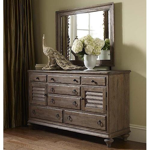 Kincaid Furniture Weatherford Ellesmere Dresser and Weatherford Landscape Mirror Combination