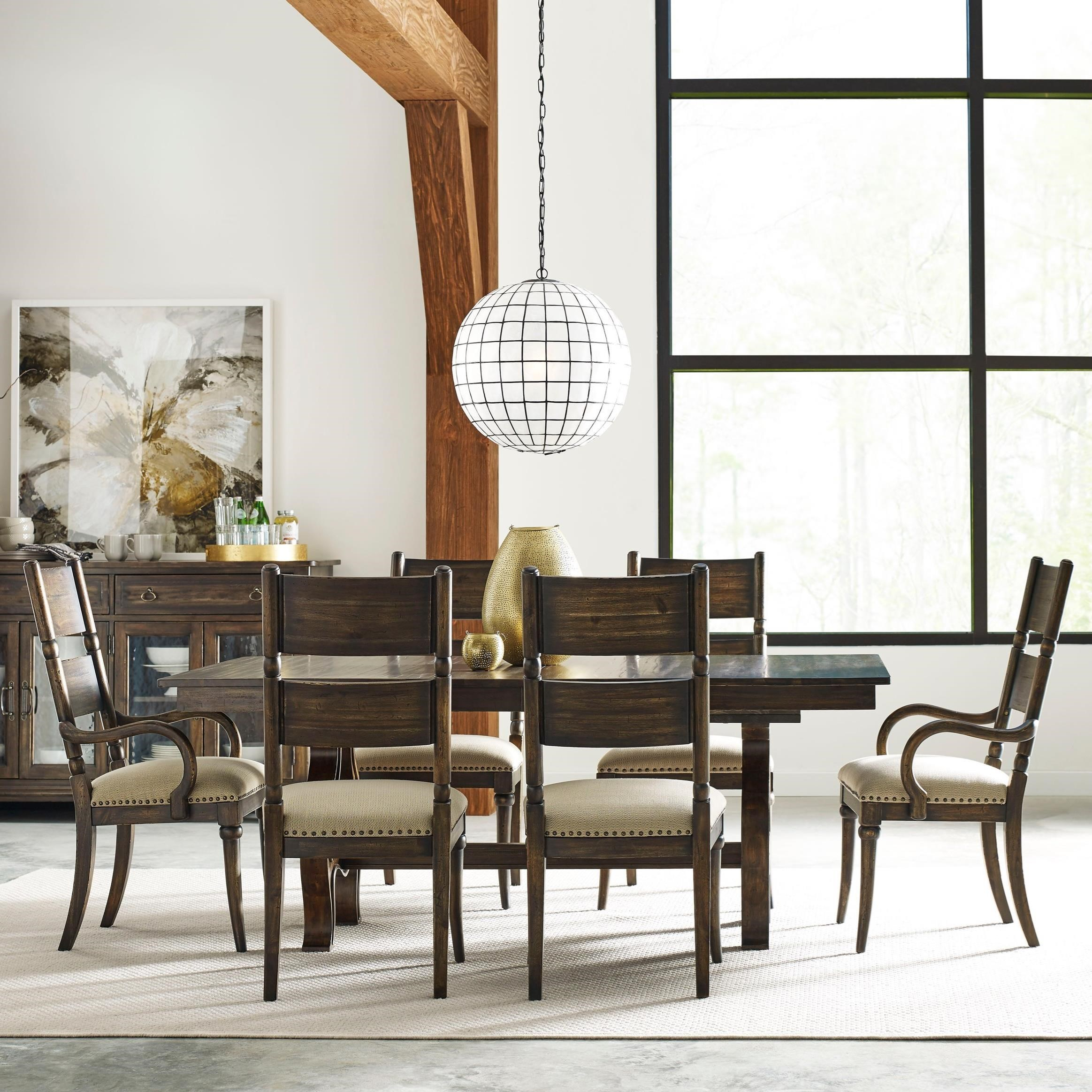Kincaid Furniture Wildfire Seven Piece Dining Set With Extendable Trestle  Table And Post Chairs