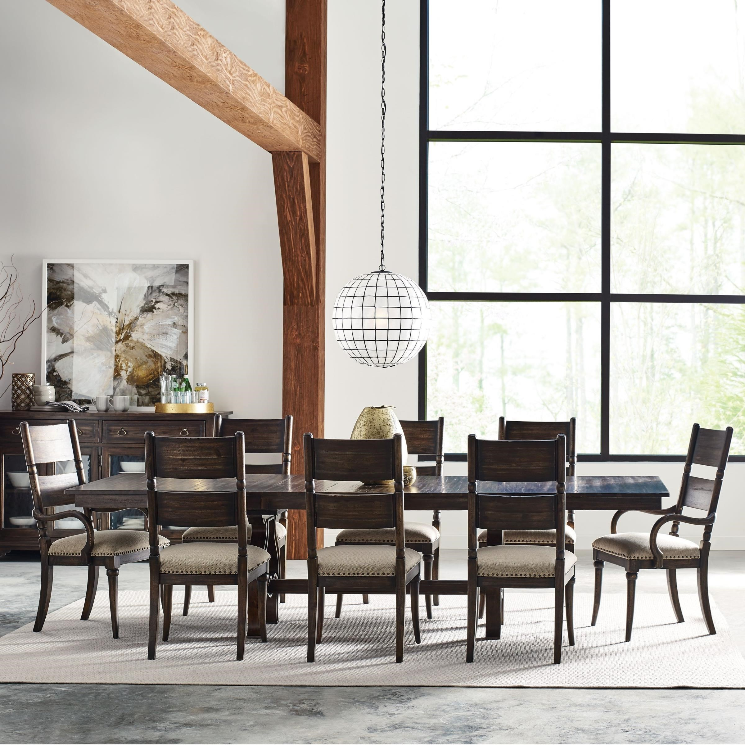 Beau Kincaid Furniture Wildfire Nine Piece Dining Set With Extendable Trestle  Table And Post Chairs
