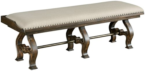 Kincaid Furniture Wildfire Vintage Styled Accent Bench with Metal Stretcher