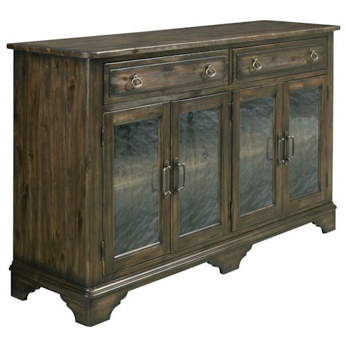Kincaid Furniture Wildfire Vintage Sideboard with Seed Glass Panels and Silverware Tray