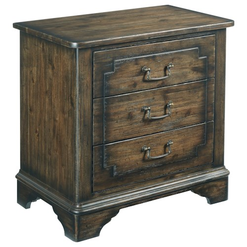 Kincaid Furniture Wildfire Vintage Nightstand with Built-In Power Strip and Nightlight