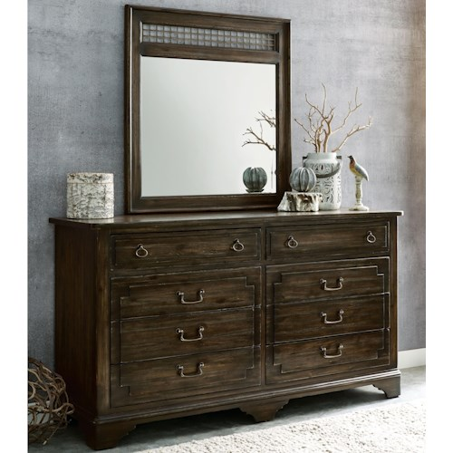 Kincaid Furniture Wildfire Vintage Eight Drawer Dresser and Northgate Mirror Set