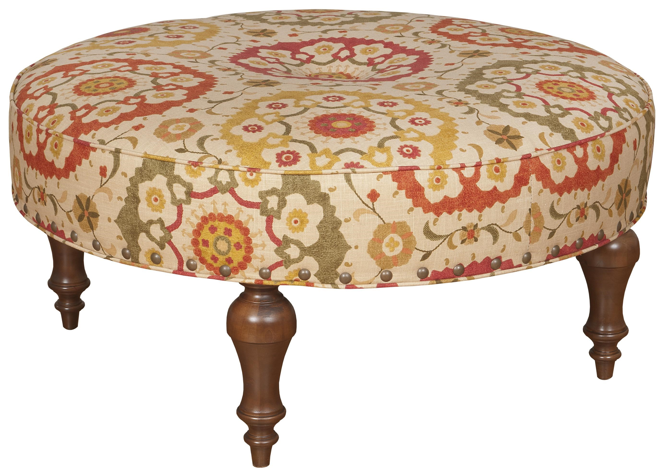 King Hickory King Hickory Accent Chairs And Ottomans Round Olympic Ottoman  With Button Tufted Seat Detail