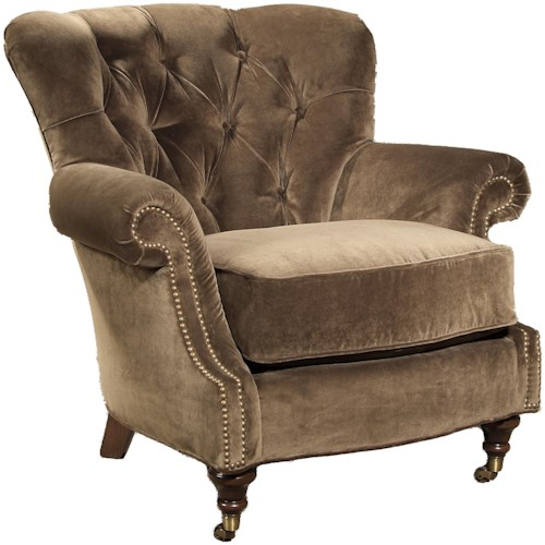 King Hickory Quincy Traditional Tufted Back Wing Chair