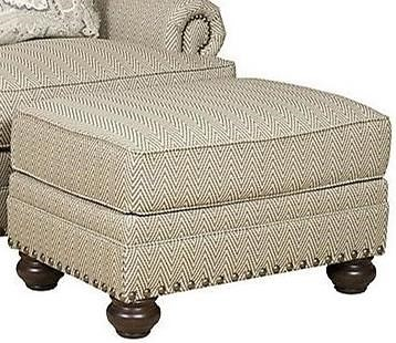 King Hickory Thomas Ottoman with Turned Feet
