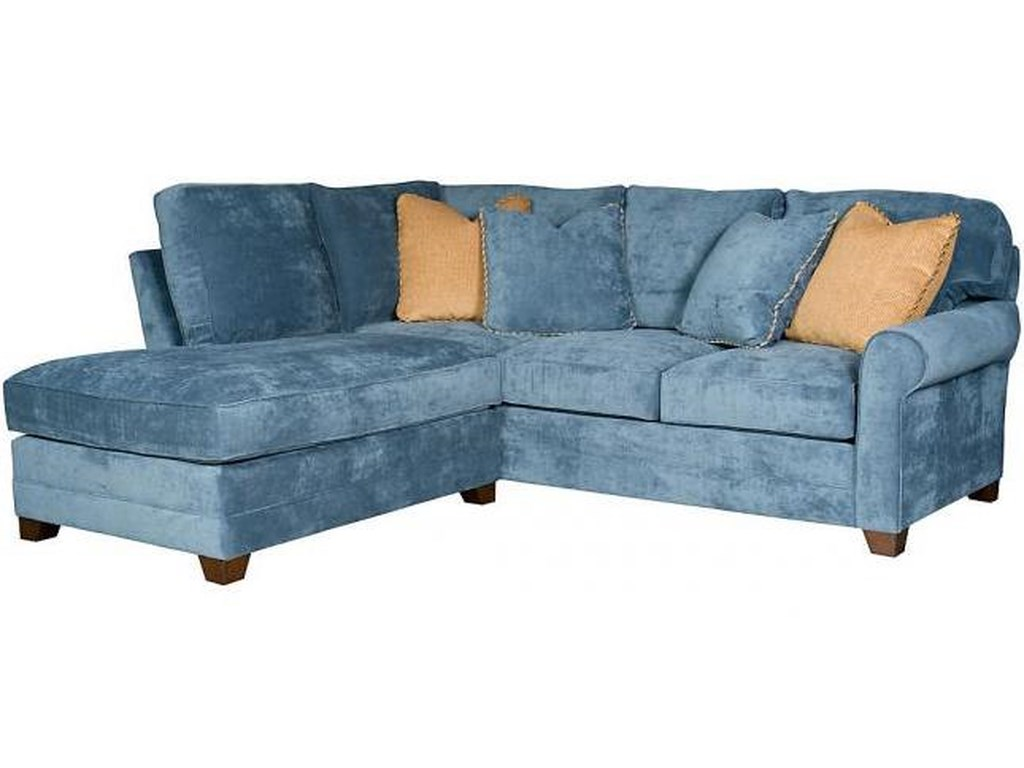 King Hickory Winston Transitional Sectional With Rolled Sock Arms And Tapered Block Feet
