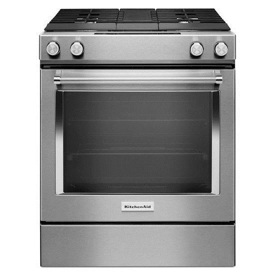30 Inch 4 Burner Dual Fuel Downdraft Slide In Range With Even Heat™ True  Convection By KitchenAid