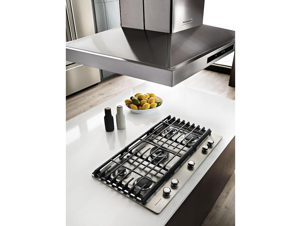 Kitchenaid Kcgs556ess36 5 Burner Gas Cooktop With 20000 Btu
