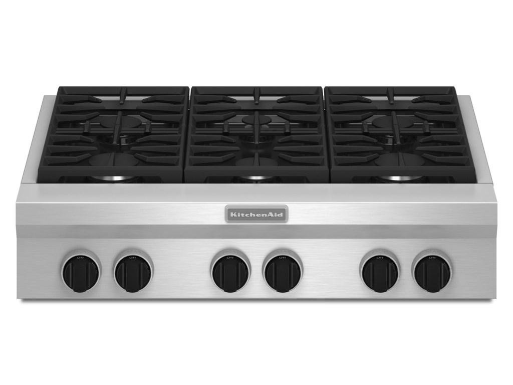 Kitchenaid Kgcu467vss36 Built In Gas Cooktop With 6 Sealed Burners