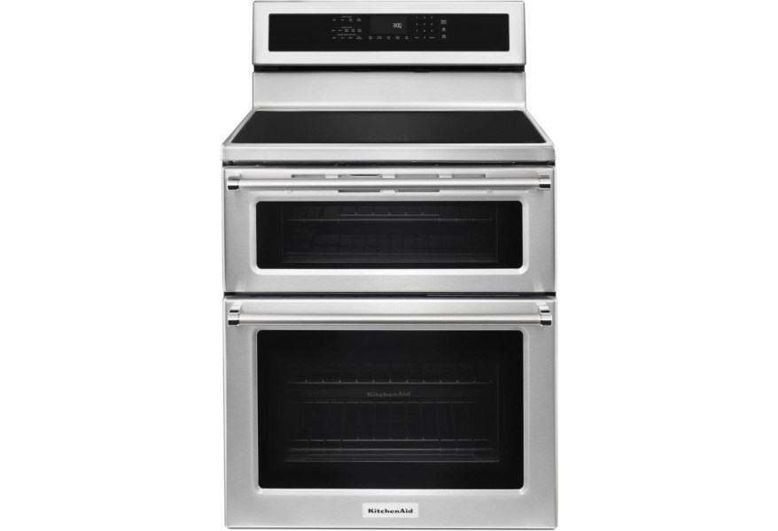 KitchenAid Electric Ranges 30-Inch 5 Burner Induction Double Oven  Convection Range by KitchenAid at Furniture and ApplianceMart